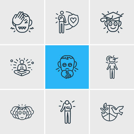 illustration of 9 emoji icons line style. Editable set of learning, think outside box, personality and other icon elements.