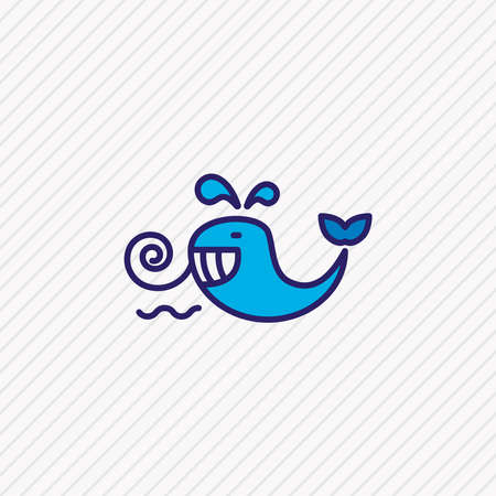 illustration of cetacean icon colored line. Beautiful maritime element also can be used as baleen whale icon element. 스톡 콘텐츠