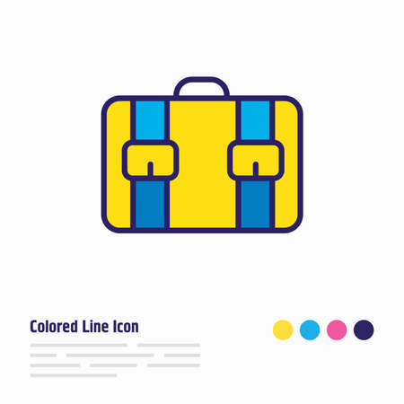 illustration of suitcase icon colored line. Beautiful vacation element also can be used as briefcase icon element.