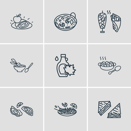 illustration of 9 culinary icons line style. Editable set of austrian apfelstrudel, pad thAI, american sandwiches icon elements.