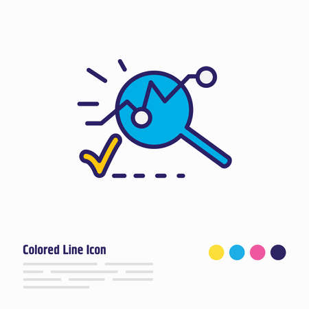 illustration of analysis icon colored line. Beautiful emoticon element also can be used as analytics icon element. 스톡 콘텐츠