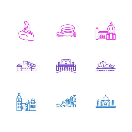 illustration of 9 tourism icons line style. Editable set of taj mahal, florence cathedral, little mermaid statue and other icon elements.