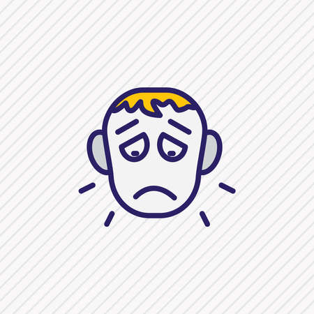 Vector illustration of offence icon colored line. Beautiful emoticon element also can be used as sorrow icon element.