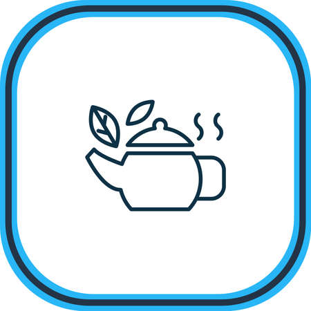 Vector illustration of tea in pot icon line. Beautiful alcohol element also can be used as teapot icon element.