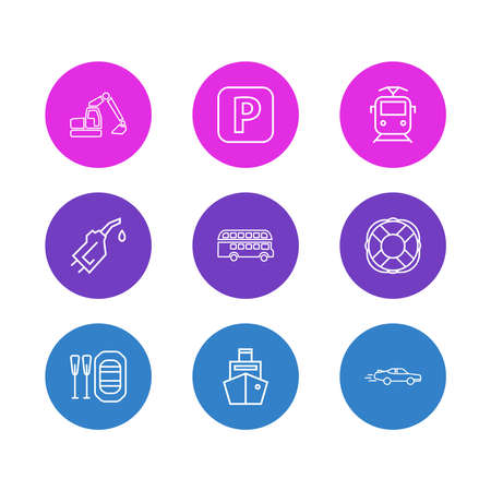 Vector illustration of 9 transport icons line style. Editable set of gasoline pipe, digger, cargo ship and other icon elements.
