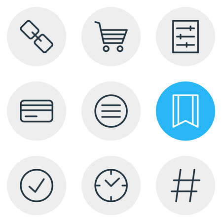 Vector illustration of 9 annex icons line style. Editable set of time, buying cart, setting and other icon elements.