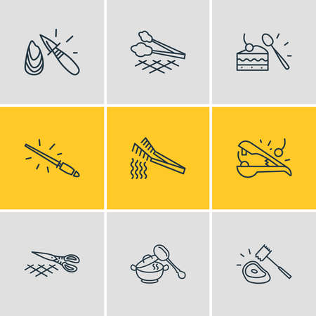 Vector illustration of 9 utensil icons line style. Editable set of sharpening steel, meat tenderizer, oyster knife and other icon elements.