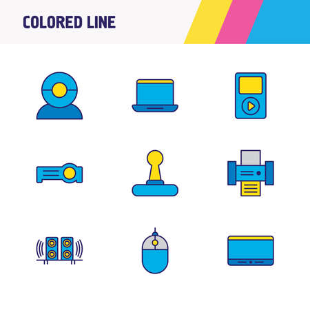 Vector illustration of 9 hardware icons colored line. Editable set of tablet phone, projector, web cam and other icon elements.