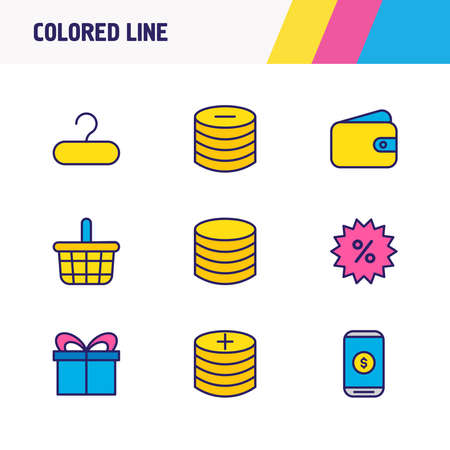 Vector illustration of 9 trading icons colored line. Editable set of hanger, wallet, basket and other icon elements.