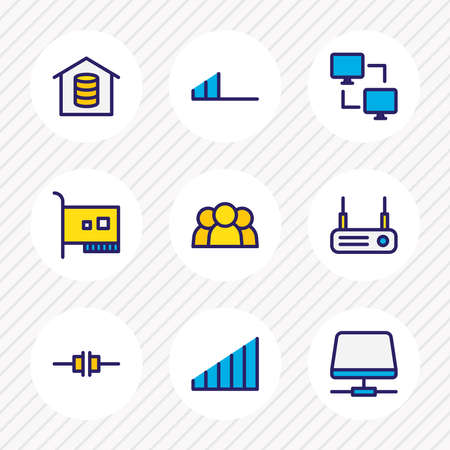 Vector illustration of 9 network icons colored line. Editable set of high volume, router, root server and other icon elements. Illusztráció