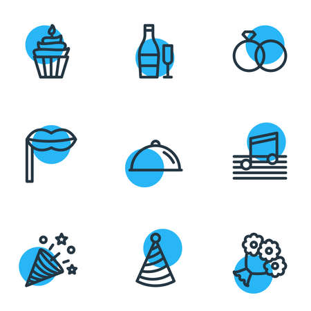 illustration of 9 party icons line style. Editable set of music, cupcake, beverage and other icon elements.