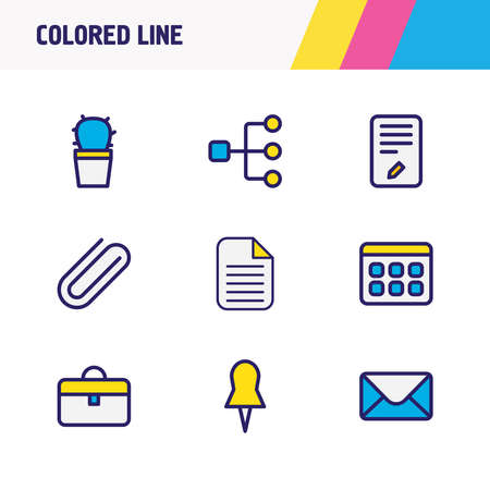 illustration of 9 workplace icons colored line. Editable set of clip, file, suitcase and other icon elements.