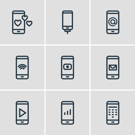 Vector illustration of 9 phone icons line style. Editable set of camera, message, network and other icon elements. Illusztráció