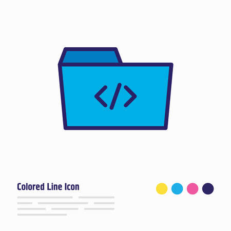Vector illustration of script icon colored line. Beautiful dossier element also can be used as code folder icon element.