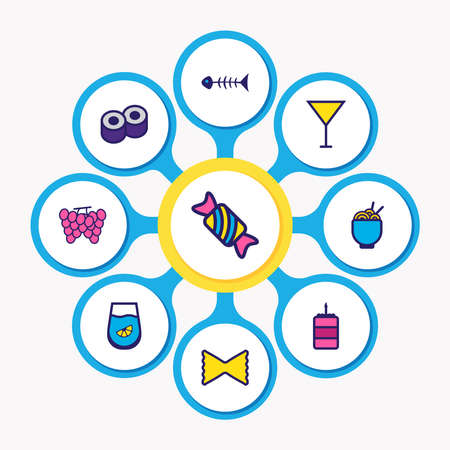 illustration of 9 meal icons colored line. Editable set of bonbon, grape, birthday cake and other icon elements.