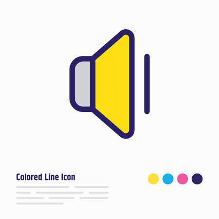 Vector illustration of volume icon colored line. Beautiful media element also can be used as sound off icon element.