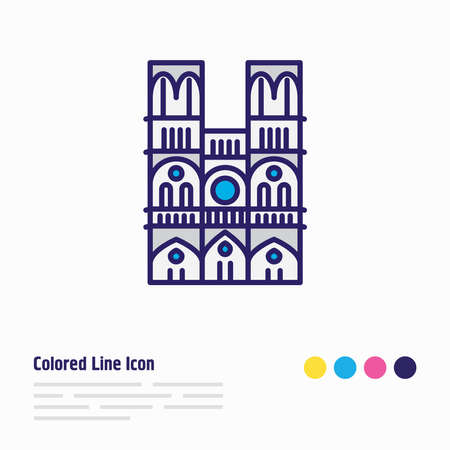 illustration of notre dame icon colored line. Beautiful culture element also can be used as cathedral icon element.
