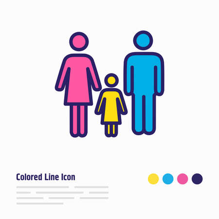 illustration of family icon colored line. Beautiful tourism element also can be used as people icon element. Stock fotó