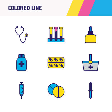 illustration of 9 medical icons colored line. Editable set of stethoscope, medical shopping, test tube and other icon elements.