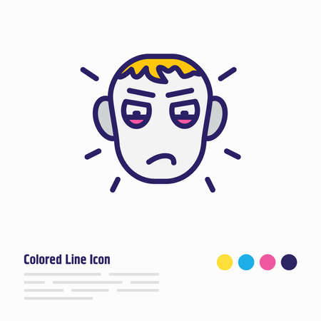 illustration of jealousy icon colored line. Beautiful emoticon element also can be used as envy icon element.