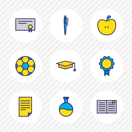 illustration of 9 education icons colored line. Editable set of ball, apple, pen and other icon elements.