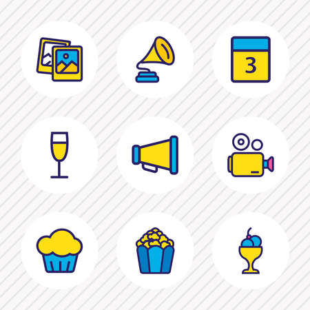 illustration of 9 celebrate icons colored line. Editable set of champagne, pics, gramophone and other icon elements.