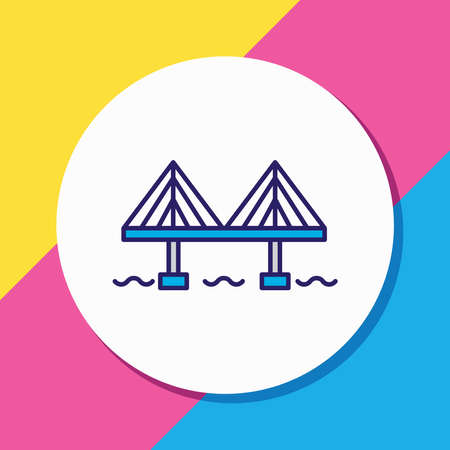 Vector illustration of millau bridge icon colored line. Beautiful world landmarks element also can be used as viaduct icon element. Stock fotó - 156966568