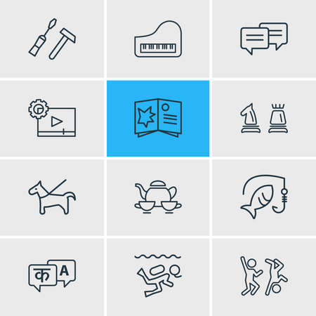 Vector illustration of 12 entertainment icons line style. Editable set of dancing, fishing, piano and other icon elements. Çizim