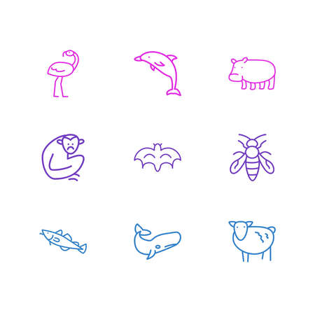 Vector illustration of 9 animals icons line style. Editable set of dolphin, bee, cod and other icon elements.