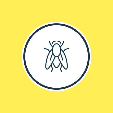 Vector illustration of fly icon line. Beautiful zoology element also can be used as housefly icon element.