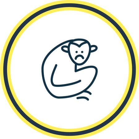Vector illustration of gibbon icon line. Beautiful zoology element also can be used as monkey icon element.