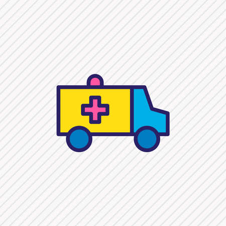 Vector illustration of ambulance icon colored line. Beautiful extra element also can be used as first aid car icon element.