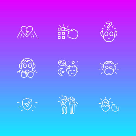 Vector illustration of 9 emoji icons line style. Editable set of birth, shame, protection and other icon elements.