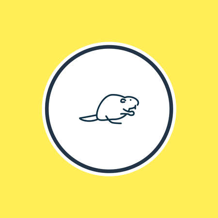 Vector illustration of beaver icon line. Beautiful zoo element also can be used as muskrat icon element.