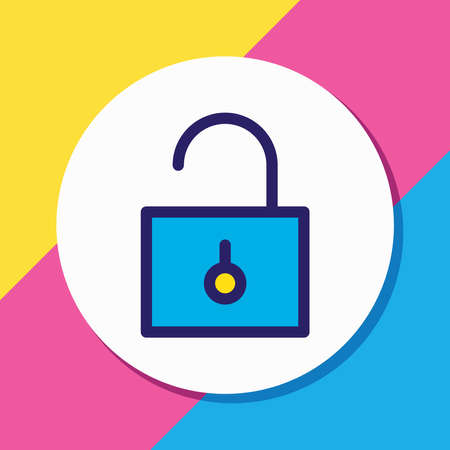 Vector illustration of unlock icon colored line. Beautiful annex element also can be used as padlock icon element.