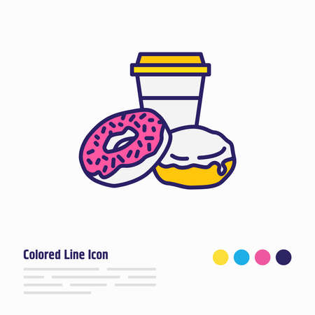 Vector illustration of american donuts icon colored line. Beautiful culinary element also can be used as doughnut icon element. 向量圖像