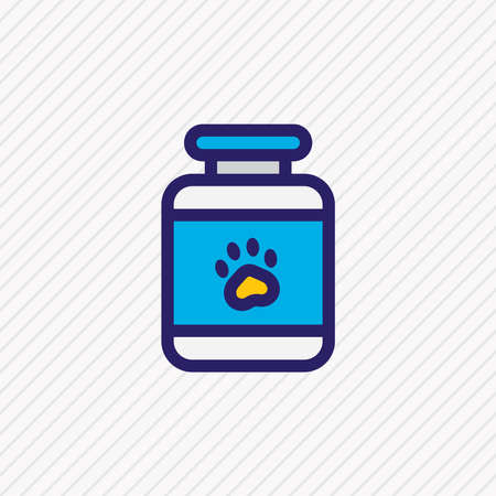 illustration of pet medicine icon colored line. Beautiful animal element also can be used as pill bottle icon element. Reklamní fotografie
