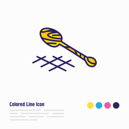 illustration of wooden spoon icon colored line. Beautiful cutlery element also can be used as kitchenware icon element.