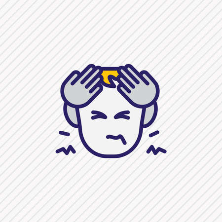 illustration of hungover icon colored line. Beautiful emoticon element also can be used as headache icon element.