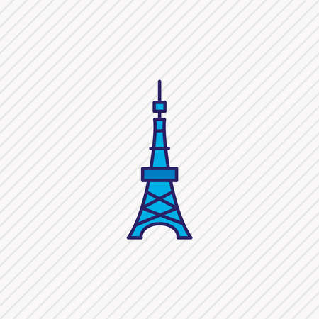 illustration of tokyo tower icon colored line. Beautiful history element also can be used as landmark icon element.