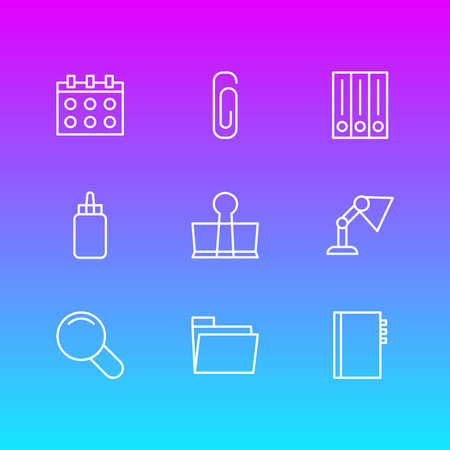 illustration of 9 stationery icons line style. Editable set of stationery, calendar, folder and other icon elements.