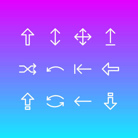 illustration of 12 sign icons line style. Editable set of repeat, upwards, caps lock and other icon elements.