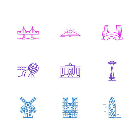 illustration of 9 tourism icons line style. Editable set of mount fuji, windmill, golden gate and other icon elements.