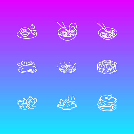 illustration of 9 world cuisine icons line style. Editable set of lebanese hummus, russian pelmeni, chinese peking duck and other icon elements.