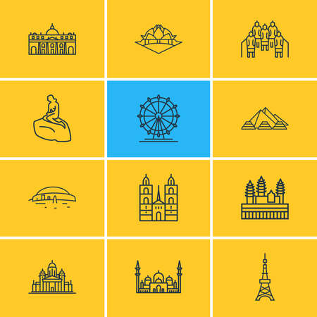 illustration of 12 history icons line style. Editable set of helinski cathedral, london eye, pyramids of giza and other icon elements.