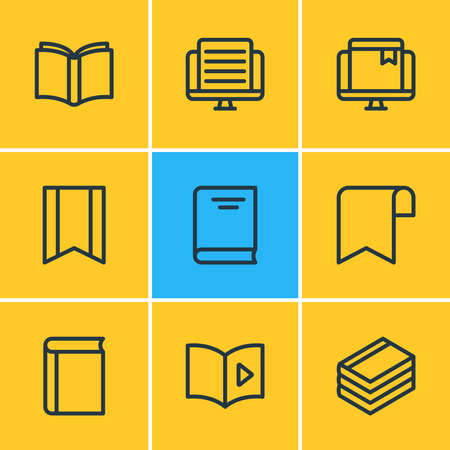 illustration of 9 book icons line style. Editable set of banner, online bookmark, learn and other icon elements.