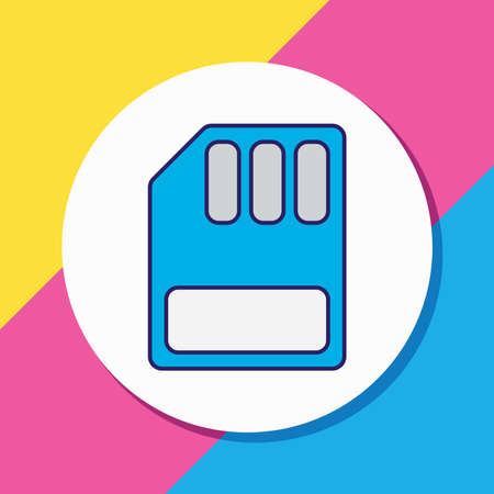 illustration of sd card icon colored line. Beautiful computer element also can be used as microchip icon element.