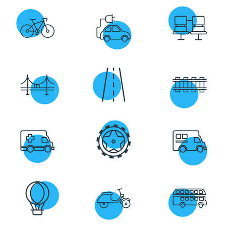 illustration of 12 transport icons line style. Editable set of scooter, passenger seats, hot air balloon and other icon elements.