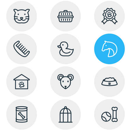 illustration of 12 animal icons line style. Editable set of comb, birdcage, pet toys and other icon elements.