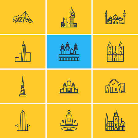 illustration of 12 tourism icons line style. Editable set of gateway arch, big ben, cityscape and other icon elements. Reklamní fotografie